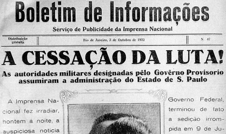 """<strong> Boletim publicado</strong> pelo governo Vargas em 3 de outubro de 1932: """"triunfando a unidade nacional"""""""