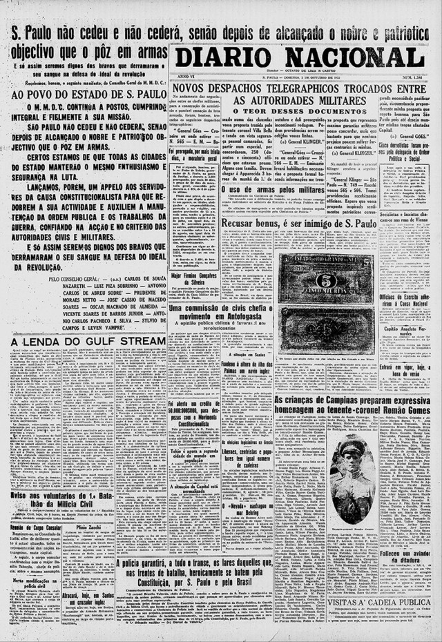 """""""Diario Nacional"""",  edição de 2 de outubro de 1932"""