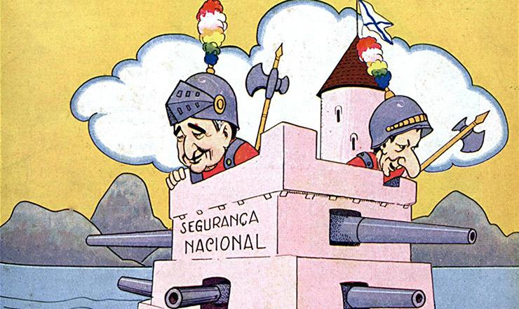 """<strong> Charge de Storni sobre a Lei de Segurança Nacional.</strong> """"Careta"""", 23 de fevereiro de 1935"""