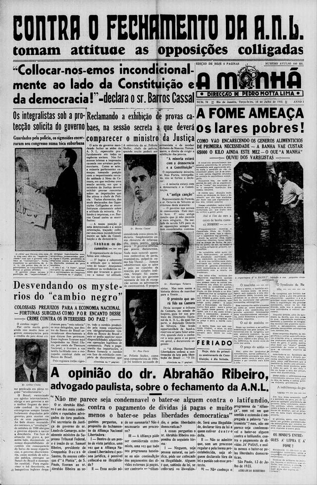 """Primeira página do jornal """"A Manhã"""", edição de 16 de julho de 1935"""