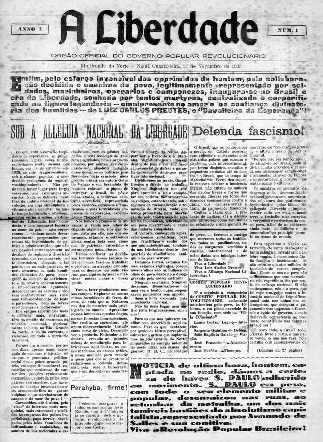 """Edição única de """"A Liberdade"""", que circulou em Natal no dia 27 de novembro de 1935"""