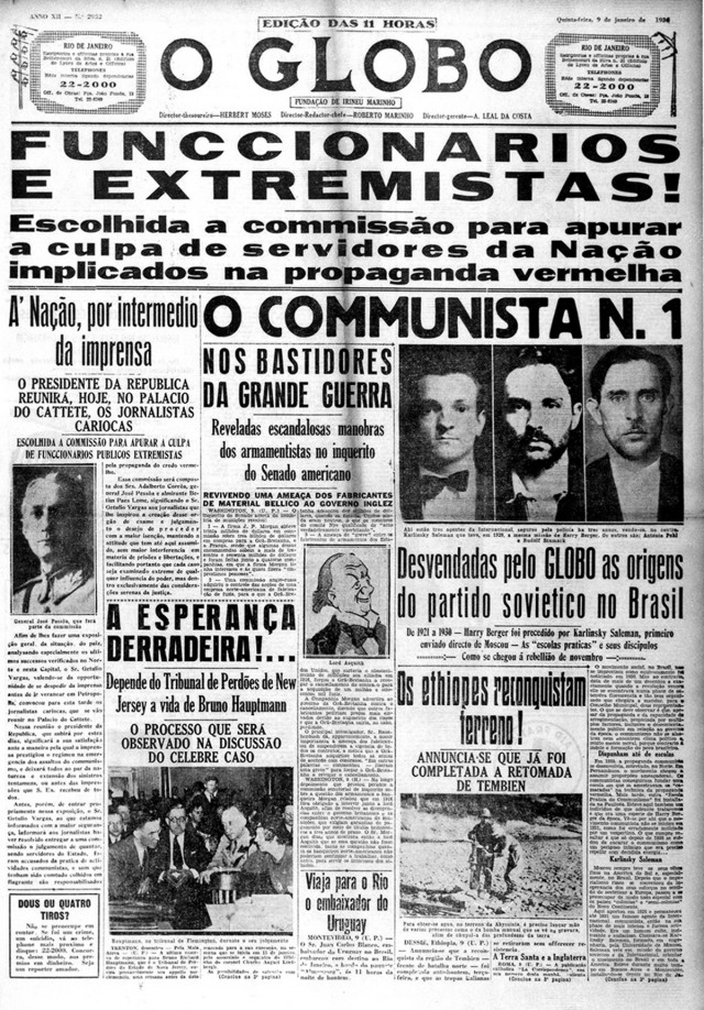 """Manchete de """"O Globo""""  de 9 de janeiro de 1936 fala da criação da comissão repressora e, paralelamente, """"desvenda"""" as origens do levante de novembro, ligando-o a """"enviados de Moscou"""""""