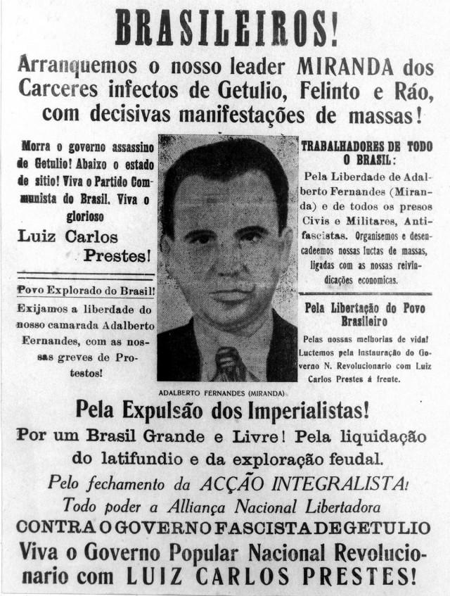 Panfleto denuncia  a prisão do membro do PCB Adalberto Fernandes, também conhecido como Antônio Maciel Bonfim e Miranda