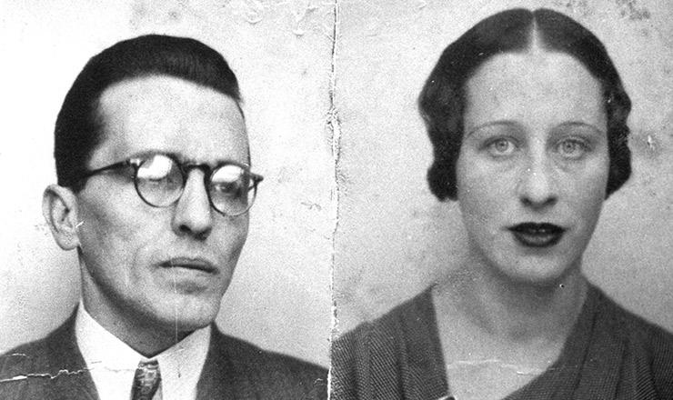 <strong> O casal Antônio e Maria Vilar: </strong> Prestes e Olga, nas fotografias do passaporte português com que viajaram ao Brasil