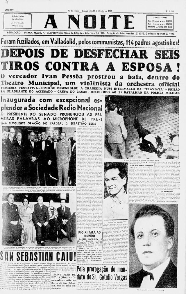 """O jornal """"A Noite""""  noticia a inauguração da Rádio Nacional"""