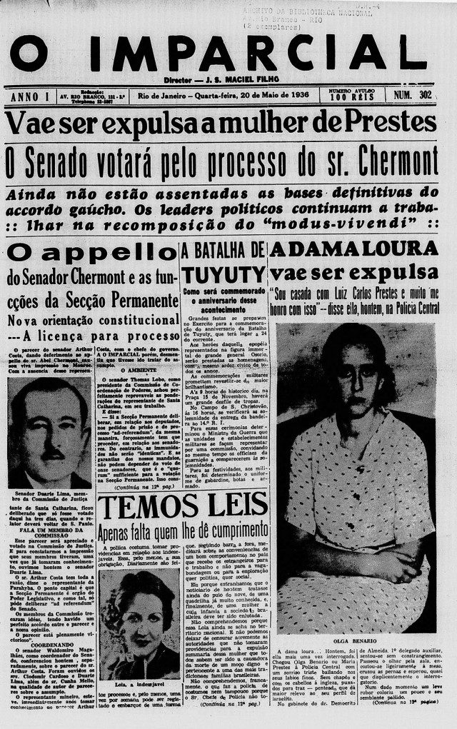 """""""O Imparcial""""  noticia a expulsão de Olga, a """"dama loura"""", em 20 de maio de 1936"""