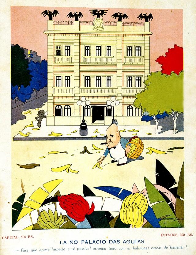 """Getúlio espalha  cascas de banana ao redor do Catete, em charge de J. Carlos publicada na revista """"Careta"""" de 30 de janeiro de 1937"""