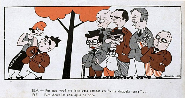 """Getúlio e os candidatos a sucedê-lo . Charge de Nássara, revista """"Careta"""", 1º de maio de 1937"""