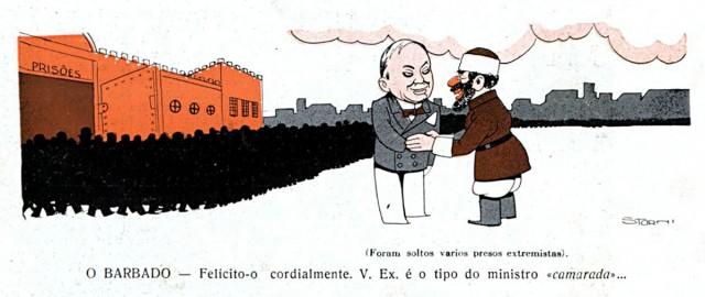 """Um soviético cumprimenta  Macedo Soares na porta de um presídio de onde sai uma multidão. Charge de Storni publicada na revista """"Careta"""" de 10 de julho de 1937"""