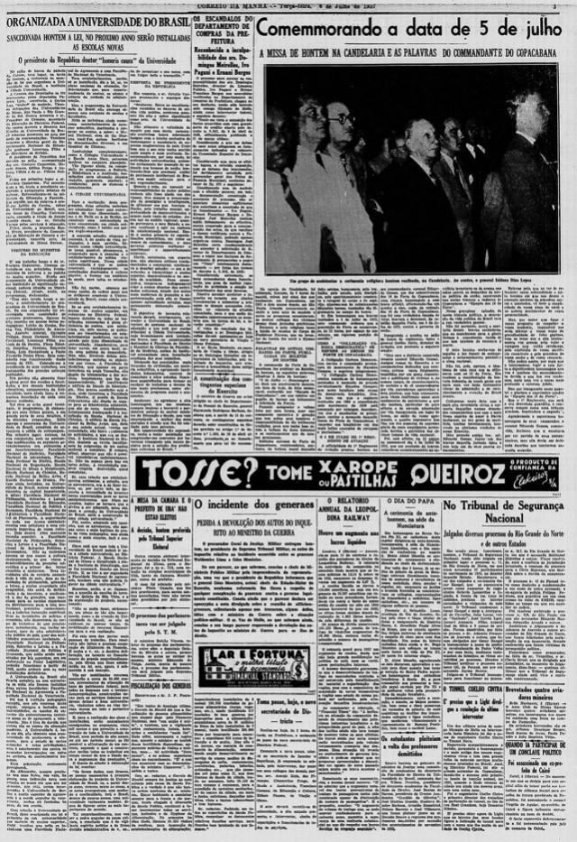 """""""Correio da Manhã"""" , edição de 6 de julho de 1937"""