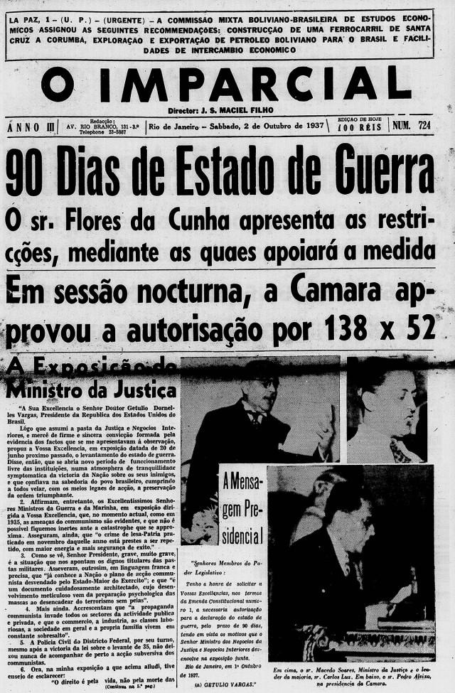 """Na manchete, """"O Imparcial"""" noticia  a votação que aprovou o estado de guerra. Edição de 2 de outubro de 1937"""