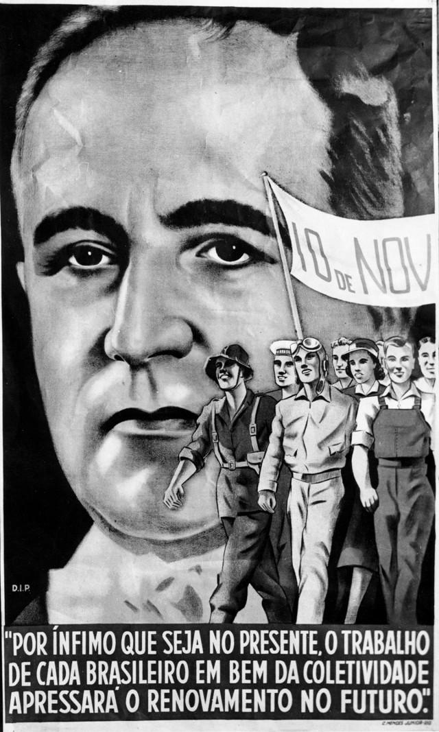 No cartaz do DIP, faixa celebra  o aniversário do Estado Novo (10 de novembro)