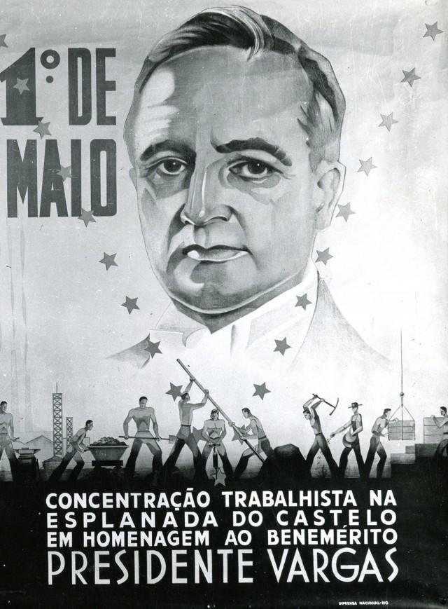 Cartaz do DIP convoca  trabalhadores para solenidades de 1º de Maio