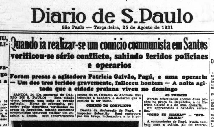<strong> &quot;Diario de S.Paulo&quot;,&nbsp;</strong> edi&ccedil;&atilde;o de 25 de agosto de 1931: s&eacute;rio conflito