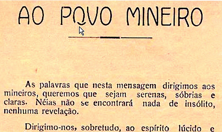 <strong> Primeira p&aacute;gina </strong> do Manifesto dos Mineiros (reprodu&ccedil;&atilde;o parcial)
