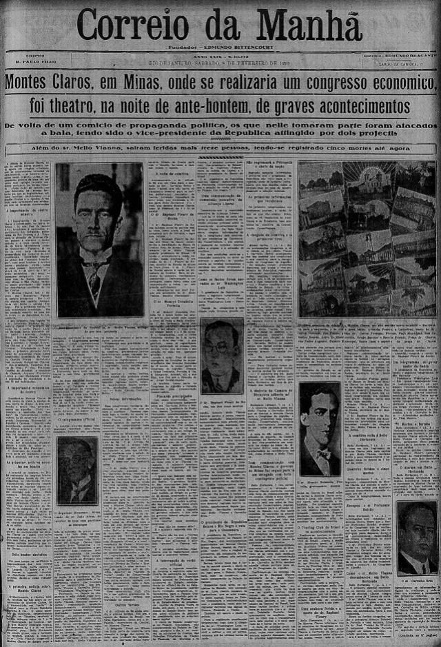 Correio da Manhã,  capa da edição de 8 de fevereiro de 1930