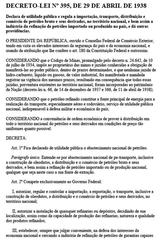 Texto integral  do Decreto-Lei nº 395, de 29 de abril de1938