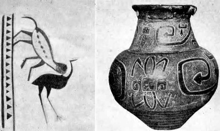 <strong> &ldquo;On&ccedil;a Saltando sobre uma Ema&rdquo;,</strong> desenho dos &iacute;ndios parecis, Rond&ocirc;nia, coletado por Edgar Roquette-Pinto; &agrave; direita, vaso gravado de Maraj&oacute;, Cole&ccedil;&atilde;o Museu Nacional