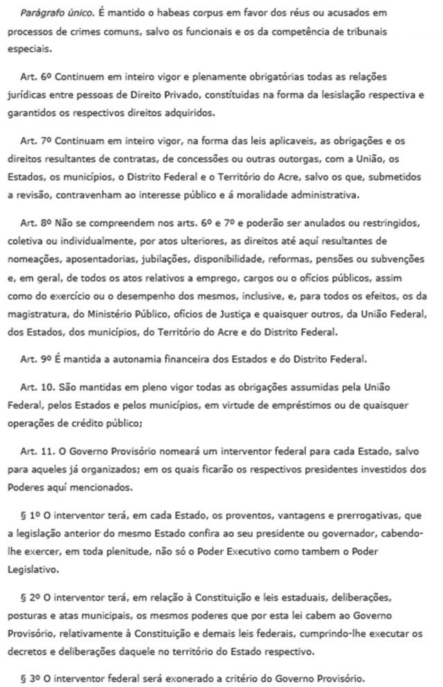 Texto do Decreto nº 19.389 de 11 de novembro de 1930