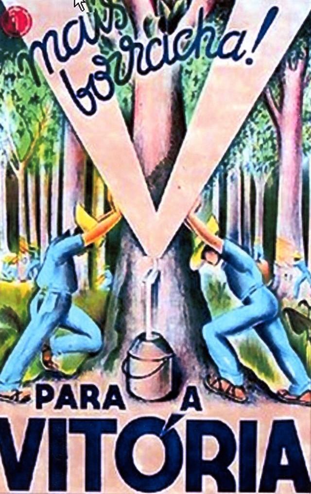Cartaz de propaganda criado pelo artista suíço Jean-Pierre Chabloz, convidado pelo Semta para ilustrar os cartazes de arregimentação de trabalhadores para os seringais amazônicos com promessas de vida de fartura