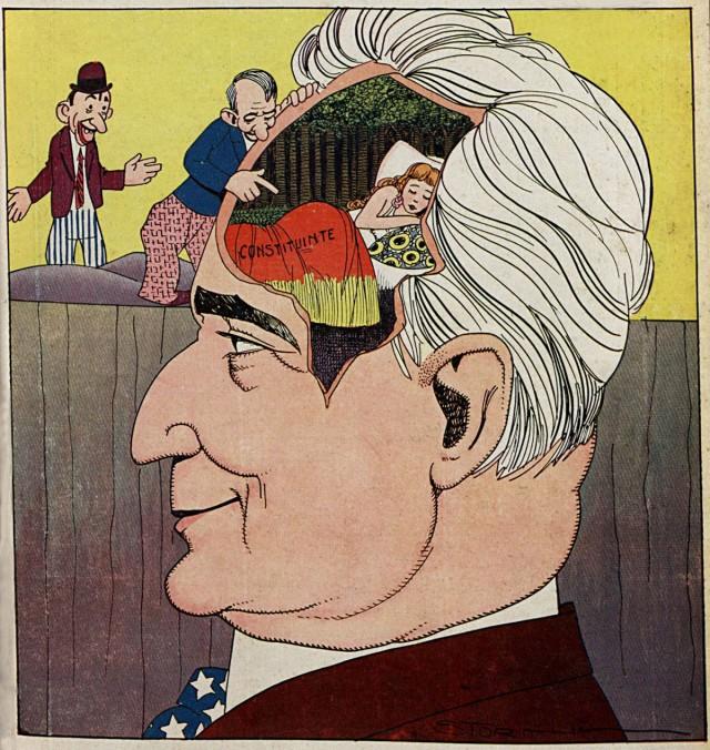 """Caricatura publicada  seis meses antes mostra a Constituinte """"dormindo"""" nos pensamentos de Getúlio. """"Careta"""", 4 de novembro de 1931"""