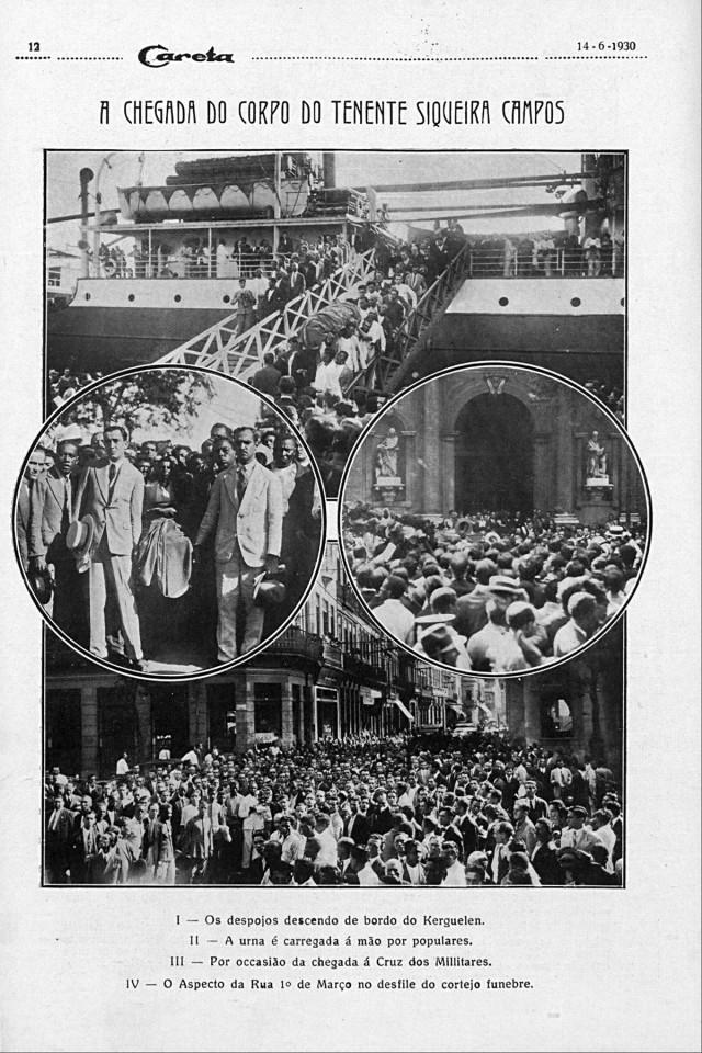 Multidão no Rio de Janeiro acompanha o corpo de Siqueira Campos até a igreja de Santa Cruz dos Militares