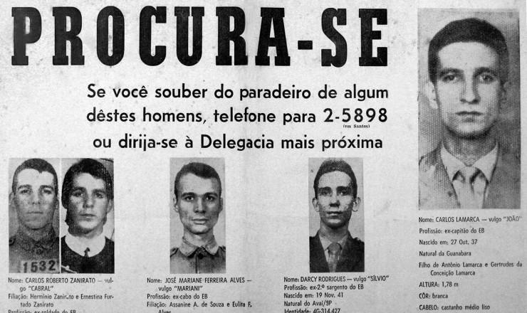 <strong> No cartaz de procurados</strong> pela repress&atilde;o, Lamarca aparece com destaque