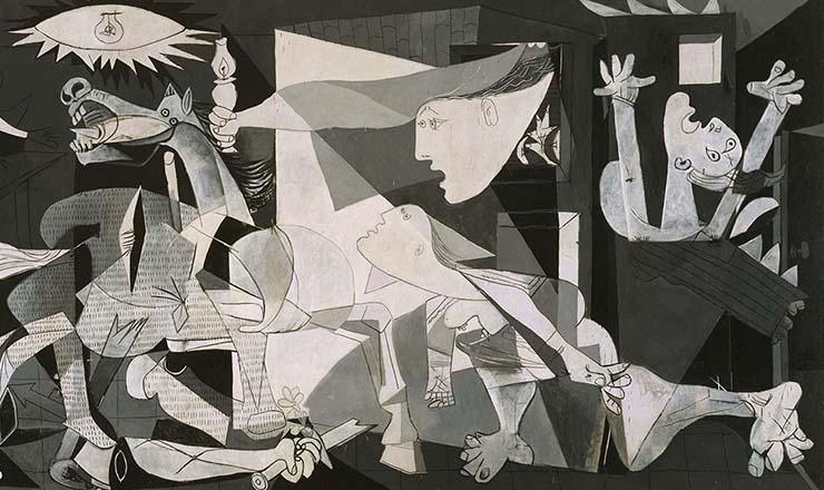 <strong> &ldquo;Guernica&rdquo;: mural de Pablo Picasso</strong> retrata o horror da cidade basca de Guernica durante o bombardeio feito por avi&otilde;es alem&atilde;es, em abril de 1937