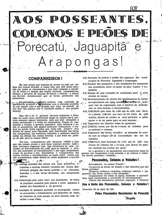 """Os """"Doze Mandamentos dos Posseiros de Porecatu"""",  assinados pelo militante comunista Hilário Gonçalves Padilha Filho, vulgo """"Itagiba"""", em23 de abril de 1951"""