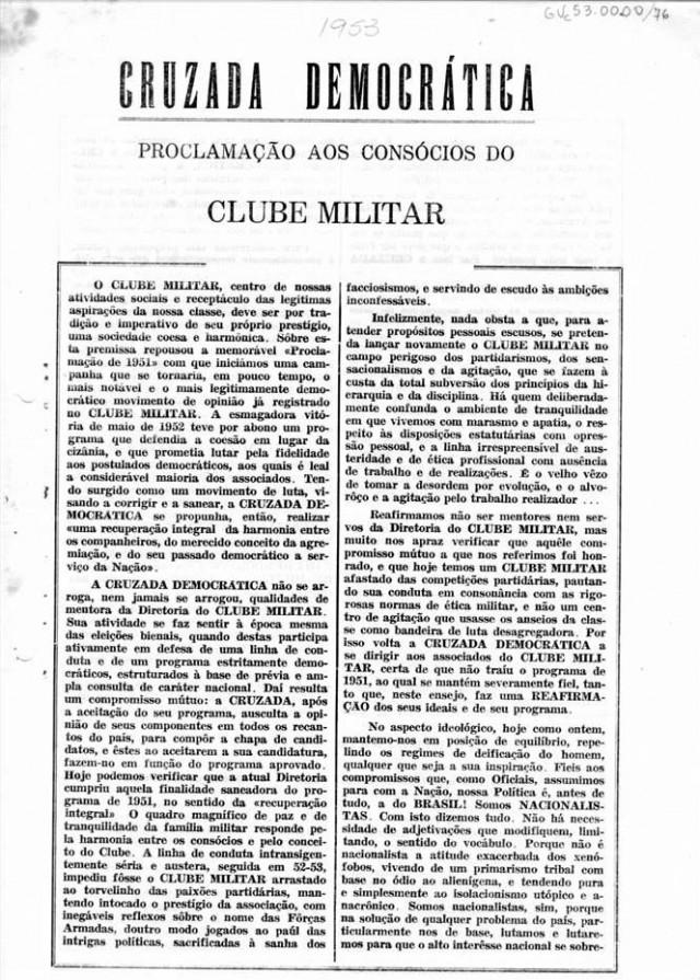 Impresso contendo manifesto da Cruzada Democrática sobre as eleições do Clube Militar