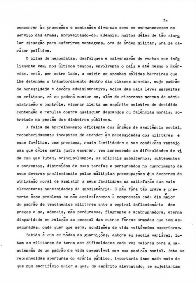 """Documentos referentes ao """"Memorial dos Coronéis"""" incluindo íntegra do Manifesto sobre vencimentos do Exército, aparelhamento militar e envolvimento em problemas políticos, entre outros temas"""