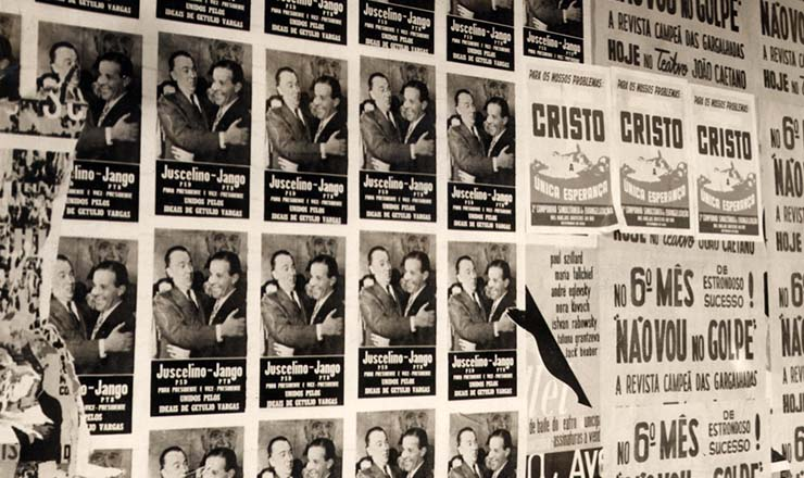 <strong> Nas ruas, cartazes da campanha eleitoral de 1955</strong> mostrando JK e Jango &ldquo;unidos pelos ideais de Get&uacute;lio Vargas&rdquo;