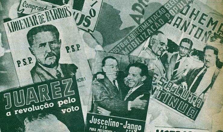 <strong> Cartazes dos candidatos </strong> nas eleições de 1955