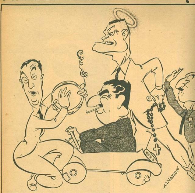 """Caricaturas dos candidatos  nas eleições de 1955, feitas por Alvarus, na revista """"Manchete"""""""