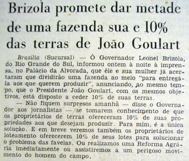 """Notícia sobre a doação de terras de Brizola no """"Jornal do Brasil"""", 6 de fevereiro de 1962"""