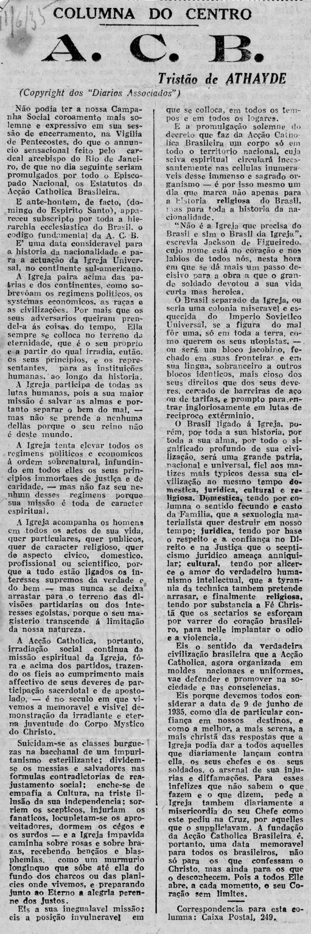 """Tristão de Ataíde usa  sua coluna de crítica literária para falar da Ação Católica. """"O Jornal"""", 11 de junho de 1935"""
