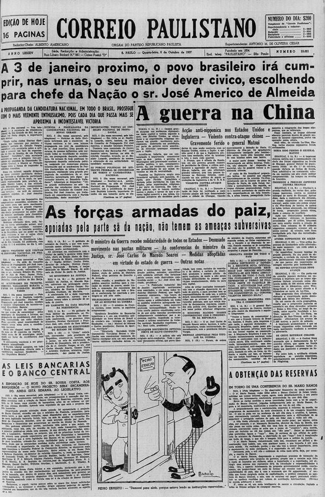"""""""Dever cívico"""": jornal""""Correio Paulistano"""" fazcampanha  aberta para José Américo de Almeida, na edição de 6de outubro de 1937"""