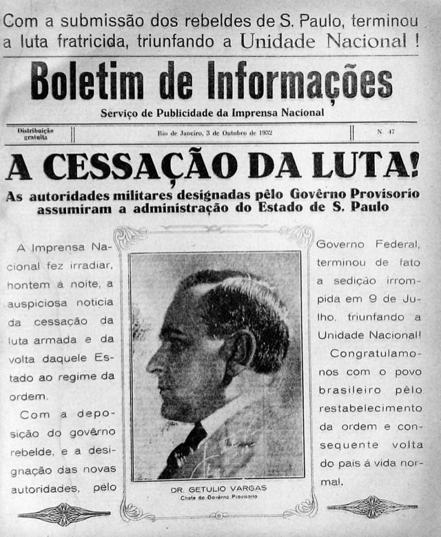 Boletim publicado pelo governo Vargas celebra a derrota dos paulistas, em 3 outubro 1932