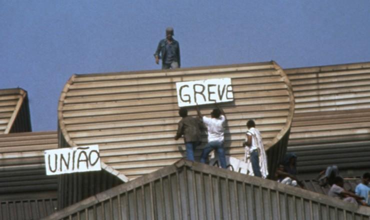 <strong> Trabalhadores da CSN em greve</strong> &nbsp;durante ocupa&ccedil;&atilde;o da sider&uacute;rgica