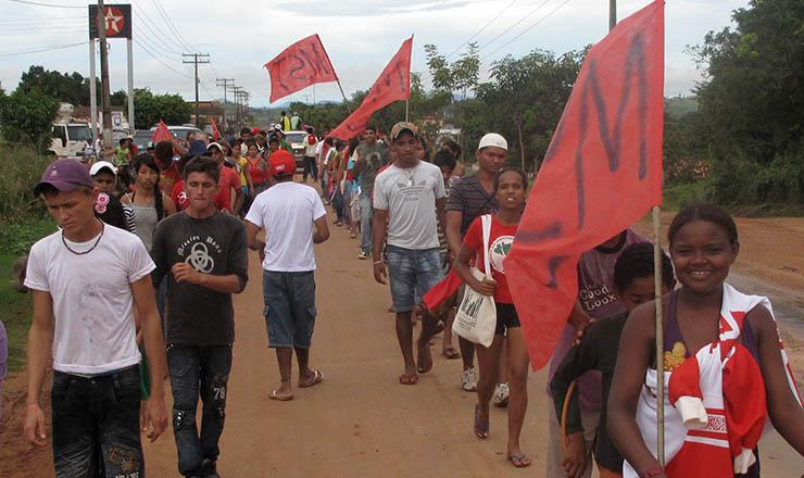 <strong> Integrantes do MST fazem marcha </strong> nas proximidades de Eldorado dos Carajás (Par&aacute;)&nbsp;