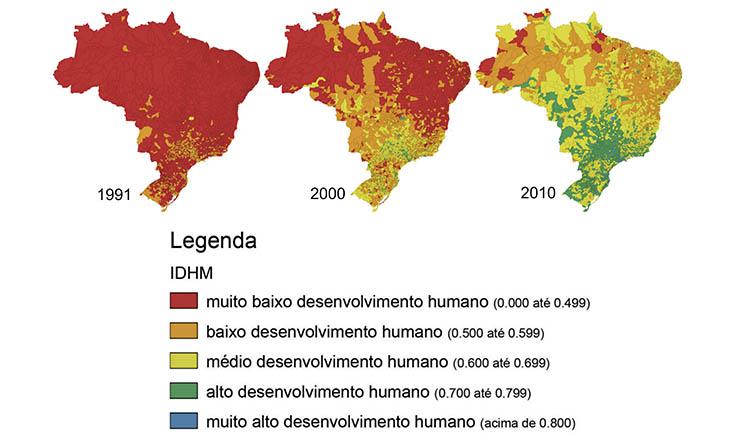 <strong> Mapas do &Iacute;ndice de Desenvolvimento Humano Municipal: </strong> redu&ccedil;&atilde;o das desigualdades desde 1991