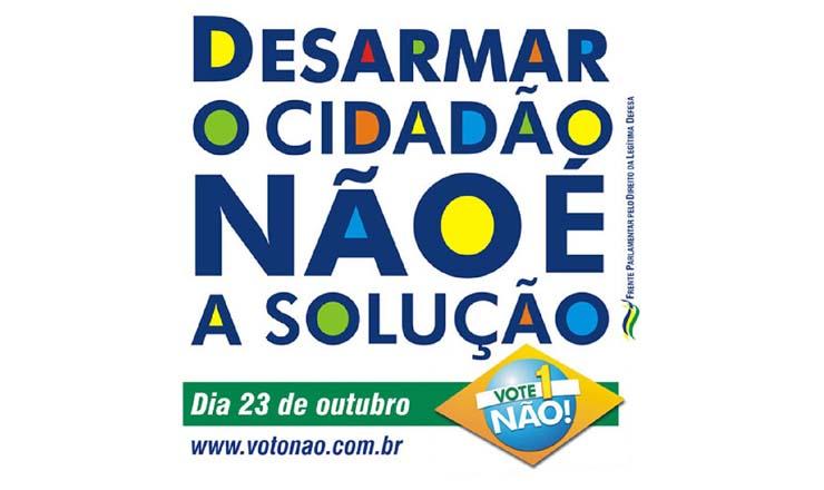 <strong> Cartaz da Frente Parlamentar pelo Direito à Legítima Defesa</strong> contra a proibição do comércio de arma de fogo no Brasil