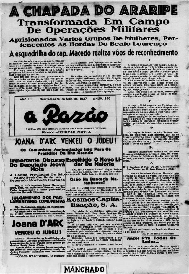 """Capa do jornal """"A Razão"""", """"ojornal que será sempre defensor das causas justas e populares"""", de 12 de maio de 1937"""