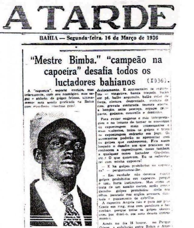 Mestra Bimba desafia todos os lutadores baianos no jornal A Tarde de 16 de março de 1936