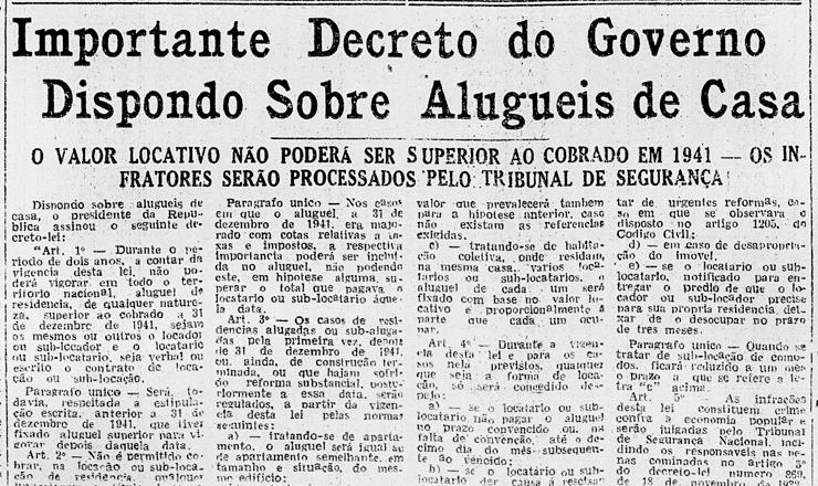 <strong> Not&iacute;cia do&nbsp;decreto do governo regulando alugu&eacute;is </strong> publicada no &quot;Diario Carioca&quot; de&nbsp;21 de agosto de 1942
