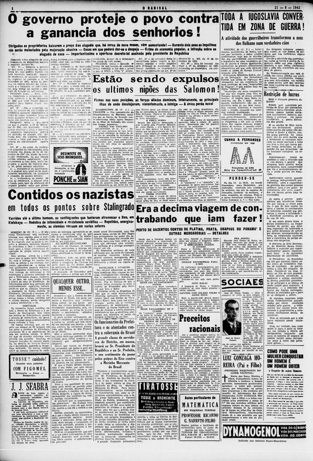"""""""Governo protege o povo contra ganância dos senhorios"""": destaque do jornal """"O Radical"""", edição de 21 de agosto de 1942"""