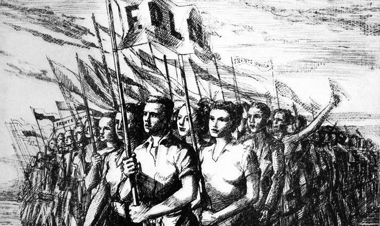 <strong> Ilustra&ccedil;&atilde;o alusiva &agrave; Frente Democr&aacute;tica de Liberta&ccedil;&atilde;o Nacional&nbsp;</strong> publicada no programa do Partido Comunista Brasileiro