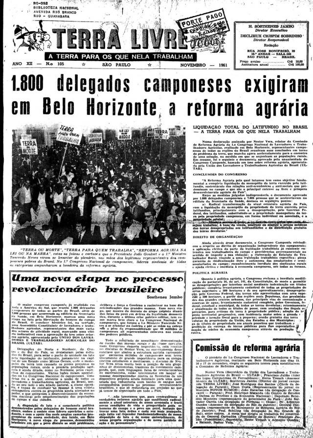 """Capa do jornal """"Terra Livre"""" de novembro de 1961"""