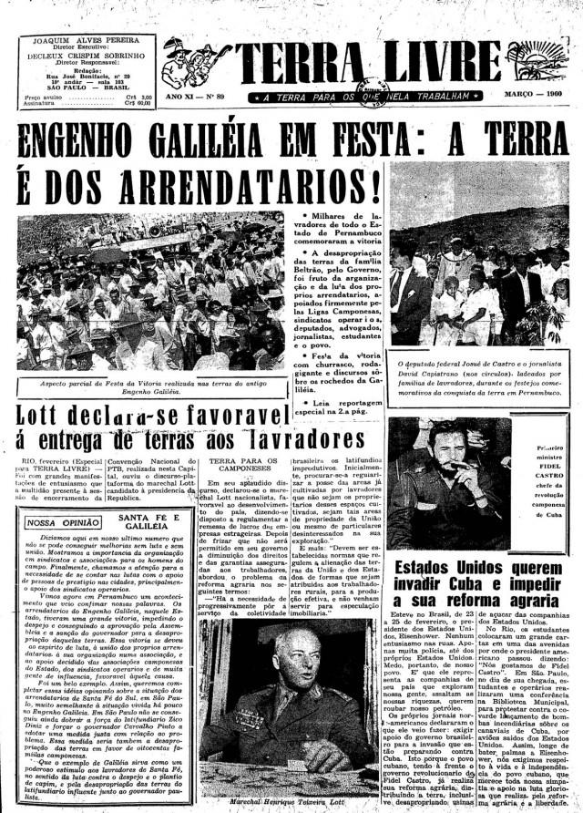 """Capa do jornal """"Terra Livre"""" de março de 1960"""