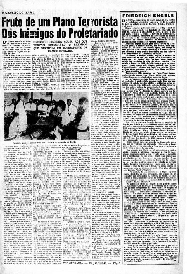"""Edição número 1 do jornal """"Voz Operária"""""""